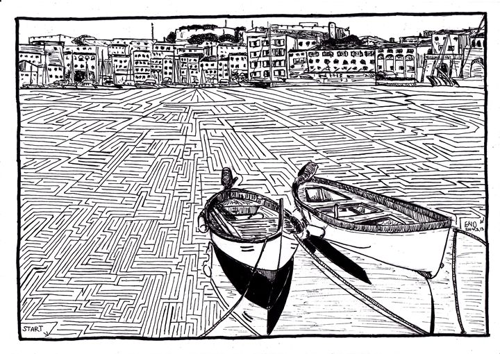 Two boats at Portoferraio - Hand Drawn Mazes