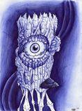 Blue ballpoint pen drawing Spirit