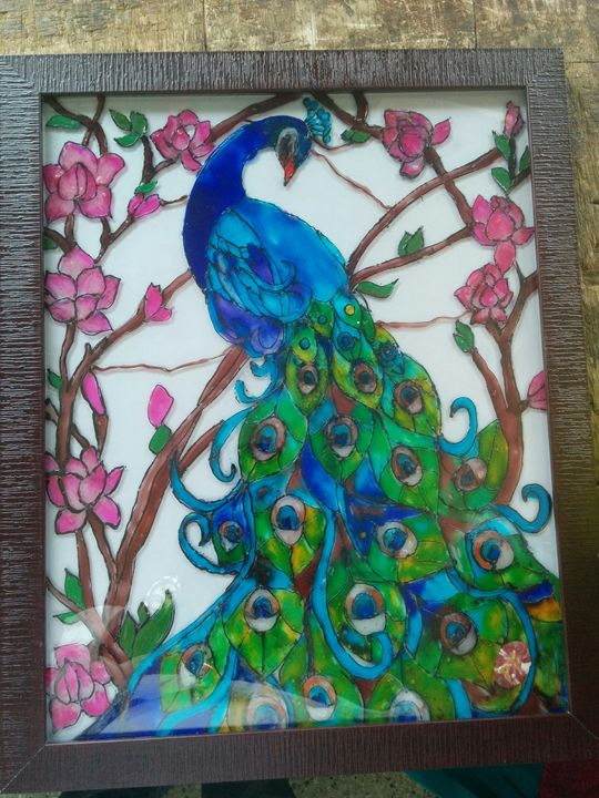 Peacock glass painting - PY Creations