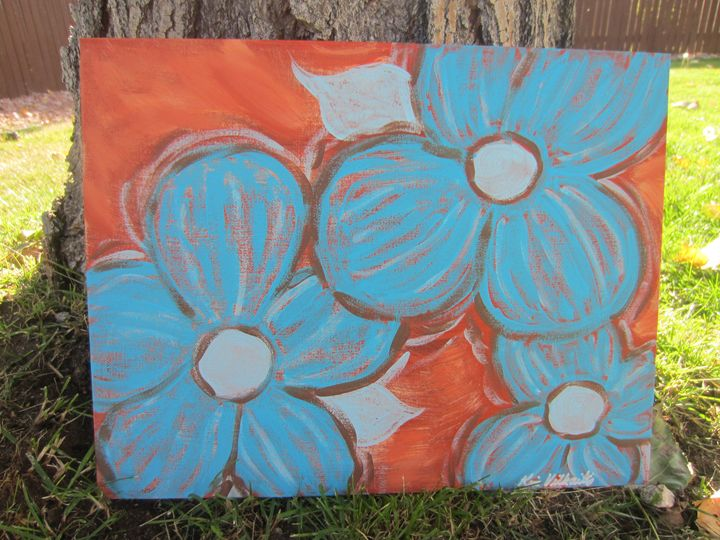 Turquoise Flowers on Terra Cotta - Colorful Quotes on Canvas