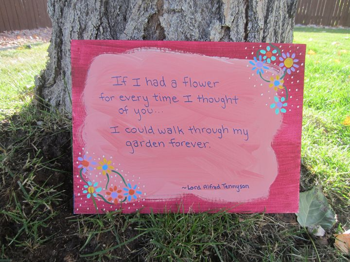 If I Had a Flower - red background - Colorful Quotes on Canvas