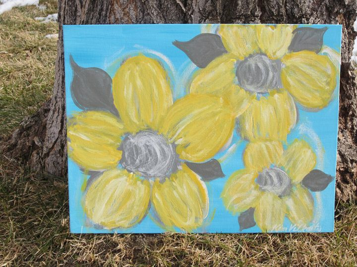 Yellow Flowers on Turquoise - Colorful Quotes on Canvas