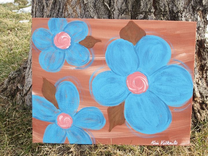 Turquoise Flowers on Clay - Colorful Quotes on Canvas