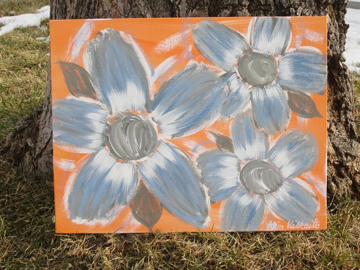 Blue Flowers on Orange - Colorful Quotes on Canvas