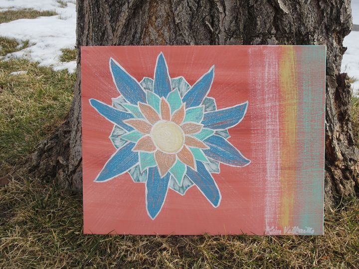Multi-Colored Flower on Orange - Colorful Quotes on Canvas
