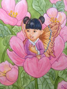 Spring Roses Fairy Girl