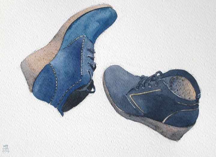 blue suede shoes - Tuckett Watercolours
