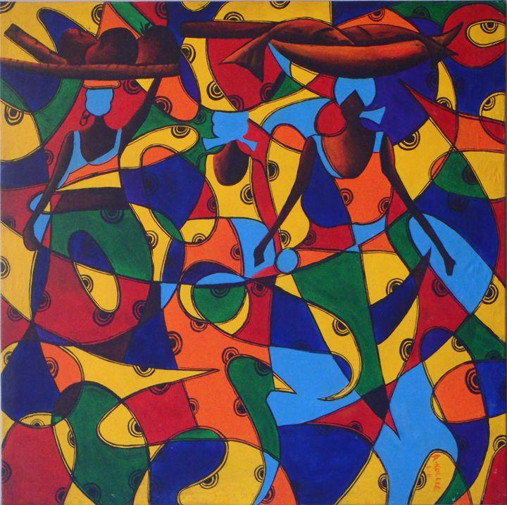 3 ladies  115 x 115 cm - Modern African