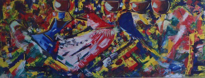 abstract wall mural 200 x 78 cm - Modern African