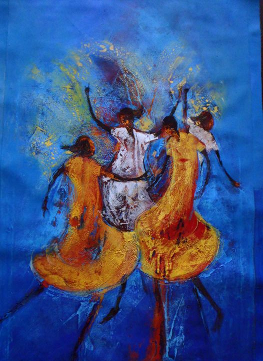 Dancing in the Moonlight 64 x 96 cm - Modern African