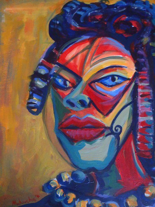 fish lady 50 x 66 cm - Modern African