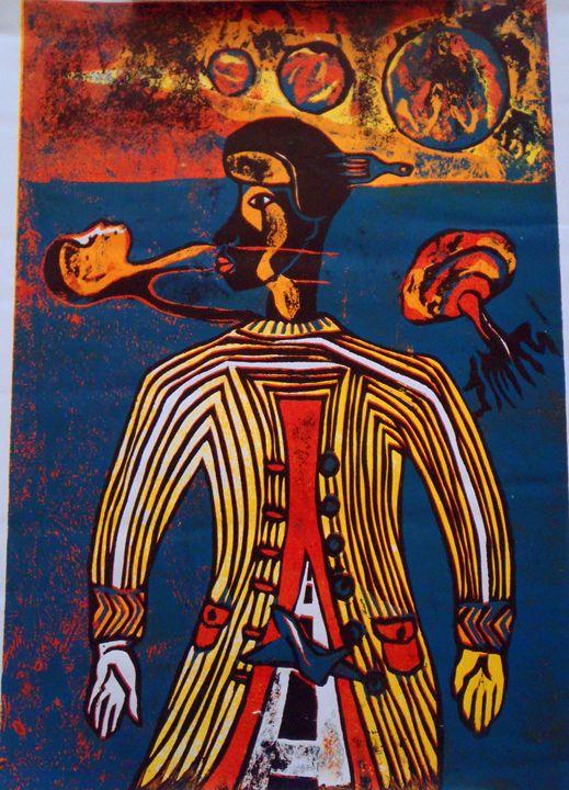 UFO man 40 x 56 cm - Modern African