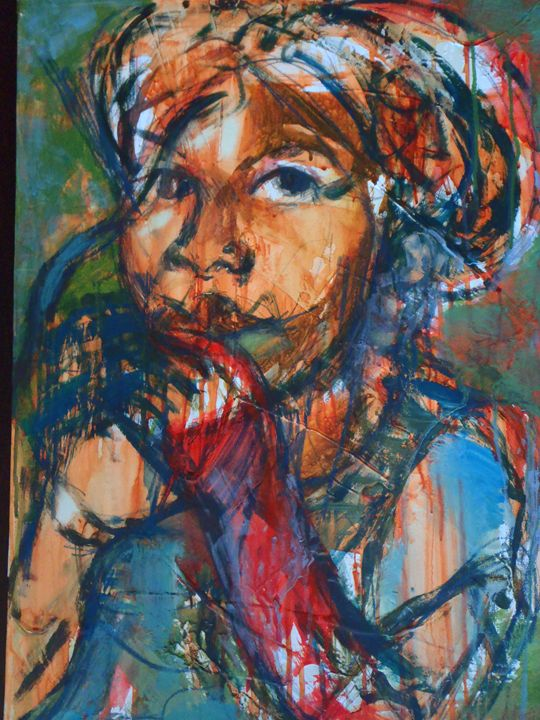 young Zim girl 46 x 62 cm - Modern African