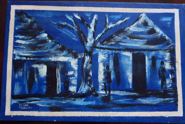 village scene 85 x 56 cm - Modern African