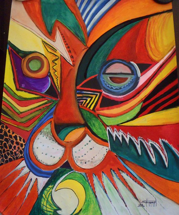 abstract tiger 76 x 100 cm - Modern African