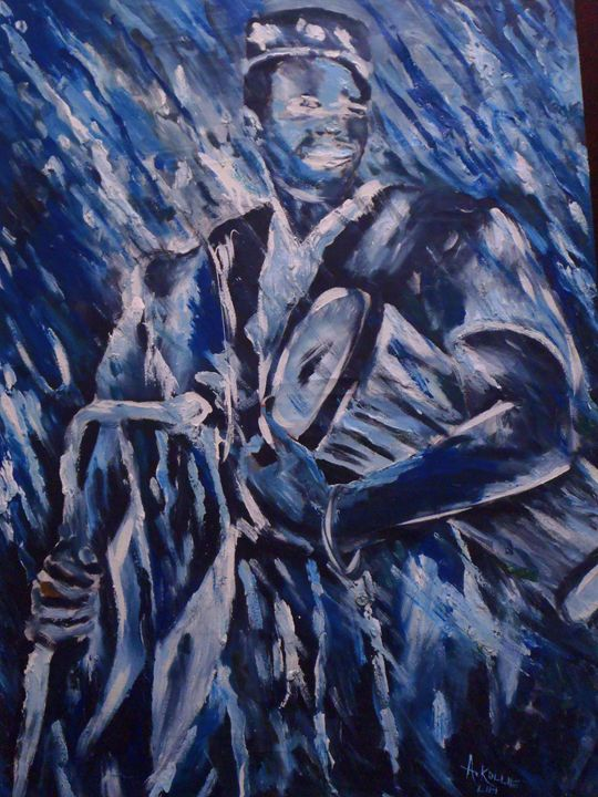 blue drummer 80 x 110 cm - Modern African
