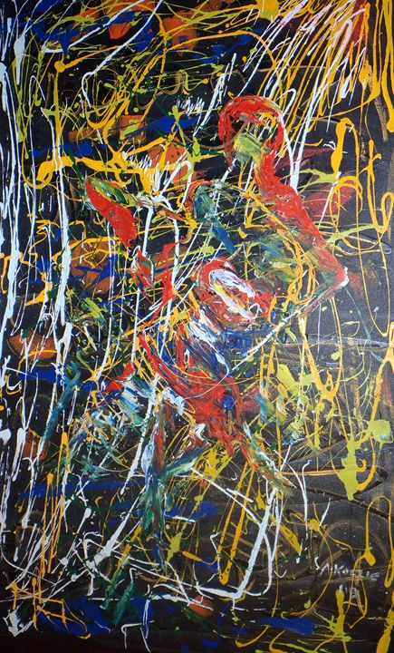 abstract drummer 78 x 122 cm - Modern African