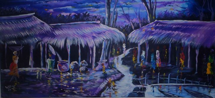 purple village 198 x 91 cm - Modern African
