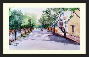 watercolor street in goa