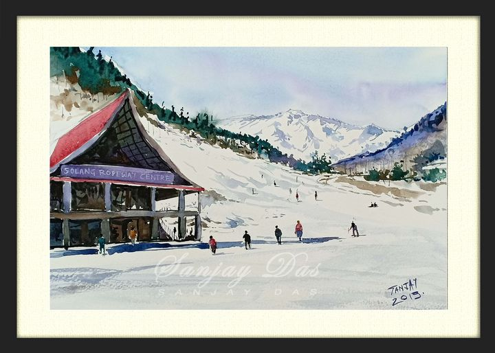 Solang- Himachal watercolor on paper - SANJAY DAS