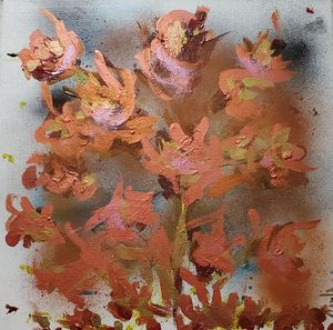 Copper Gold & Pink Flowers