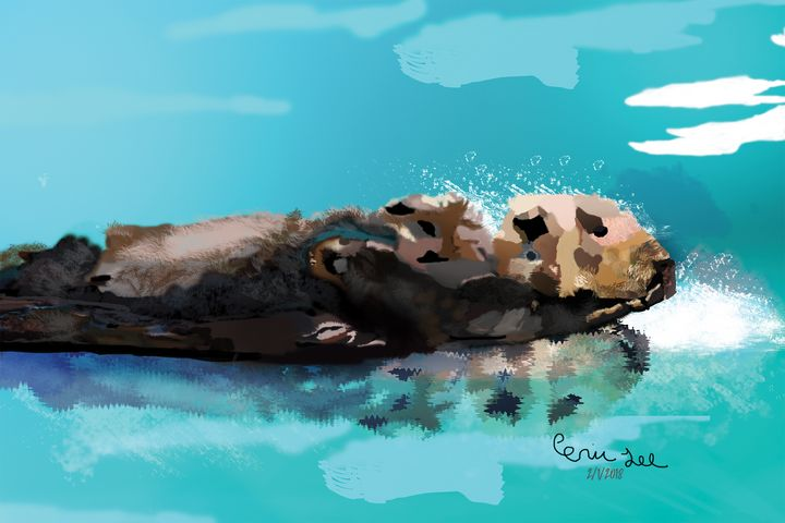 Mommy and Baby Sea Otter - Eric Lee