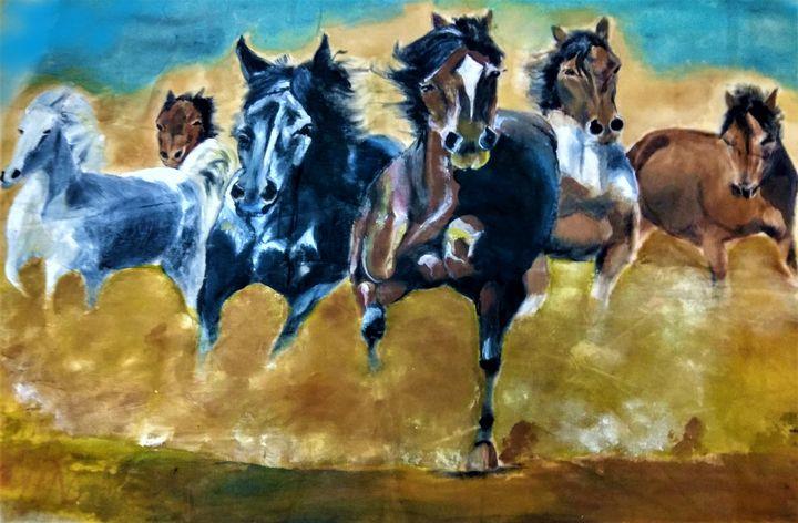 Running horses - Shrutam art gallery