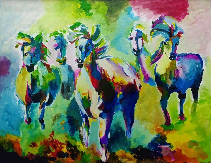 Rainbow horses - Shrutam art gallery