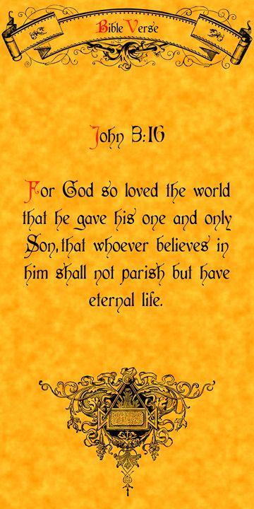 Bible Verse John 3:16 - Calligraphy