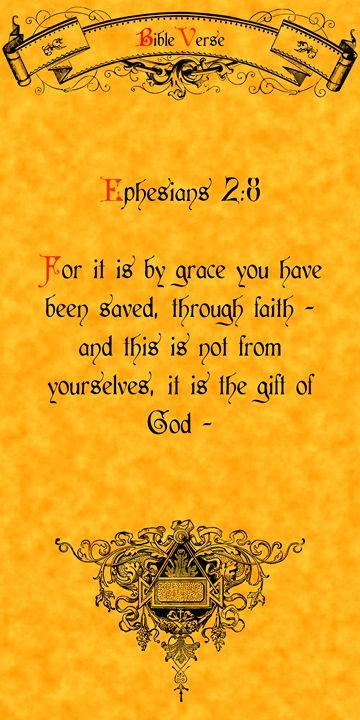 Bible Verse Ephesians 2:8 - Calligraphy