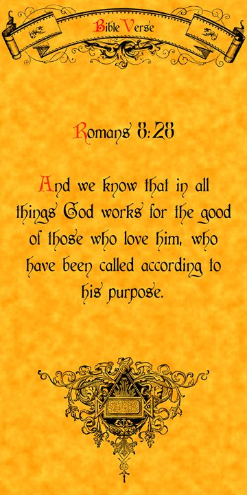 Bible Verse Romans 8:28 - Calligraphy
