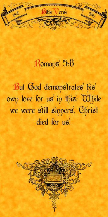 Bible Verse Romans 5:8 - Calligraphy