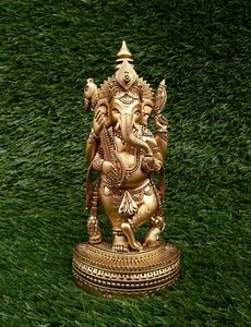 Ganesha Statue In Brass Look - Samriddhi Arts And Crafts