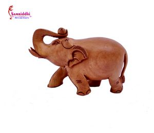 Wooden Elephant Plain Carved Statue - Samriddhi Arts And Crafts