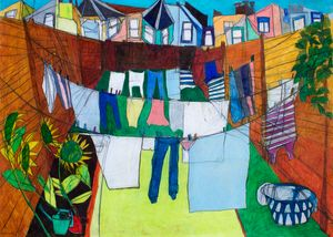 Hanging laundry in North London