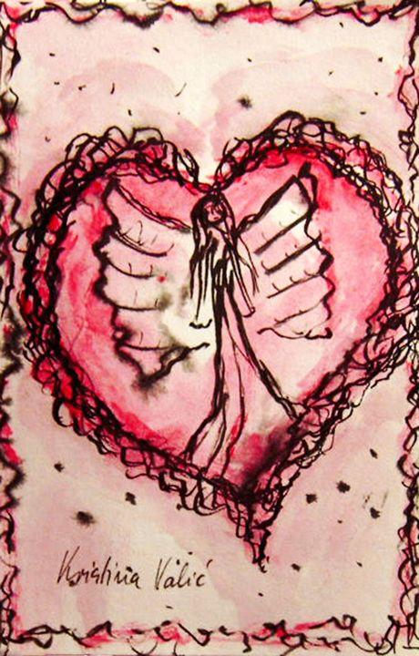 Angel Heart painting - KristinaValicArt