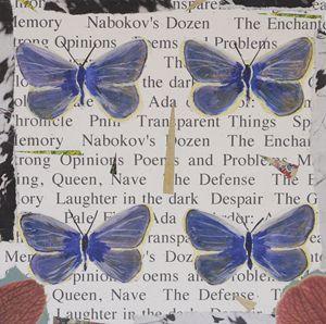 4 Blue Butterflies