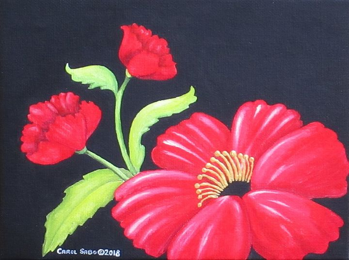 Three Red Poppies - Southwest & Florals by Carol