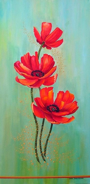 Three Red Poppies With Pixie Dust. - Southwest & Florals by Carol