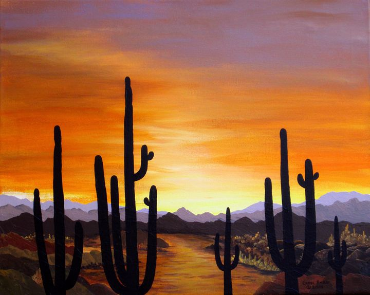 Saguaro Sunset - Southwest & Florals by Carol