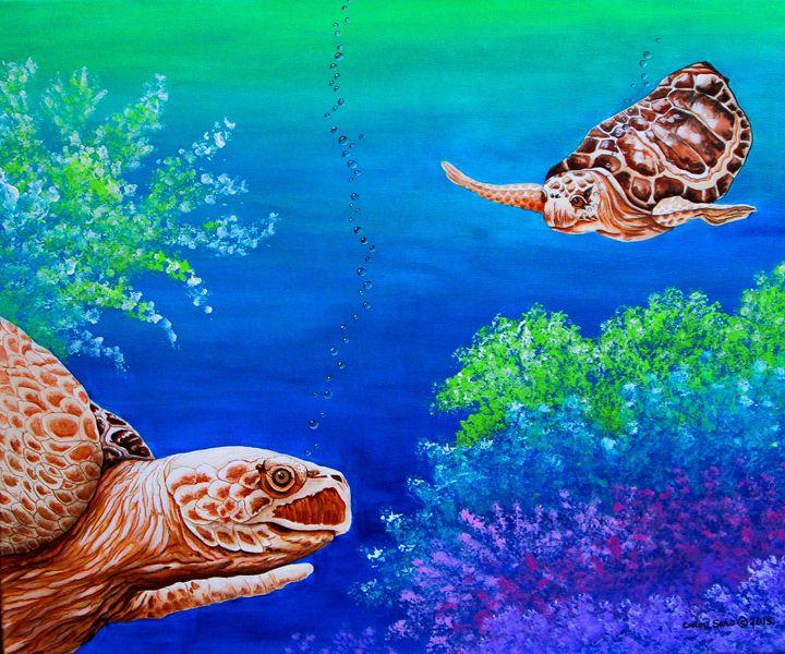 Sea Turtles - Southwest & Florals by Carol