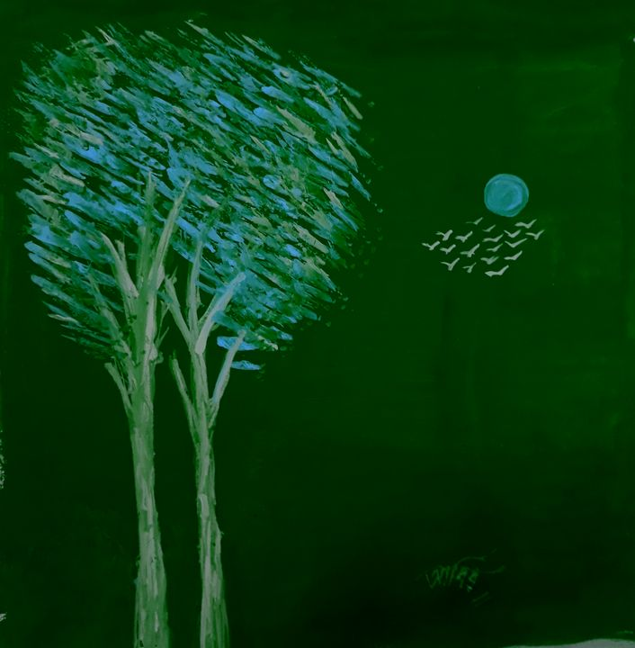 Night View of moonlight and tree - Tuhin'z Paint Gallery