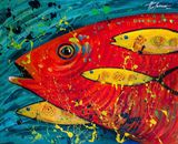 43x35cm original painting fish