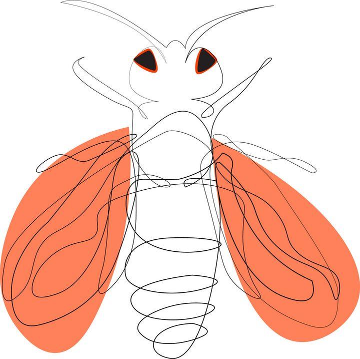 honey bee digital one line art - Shreya