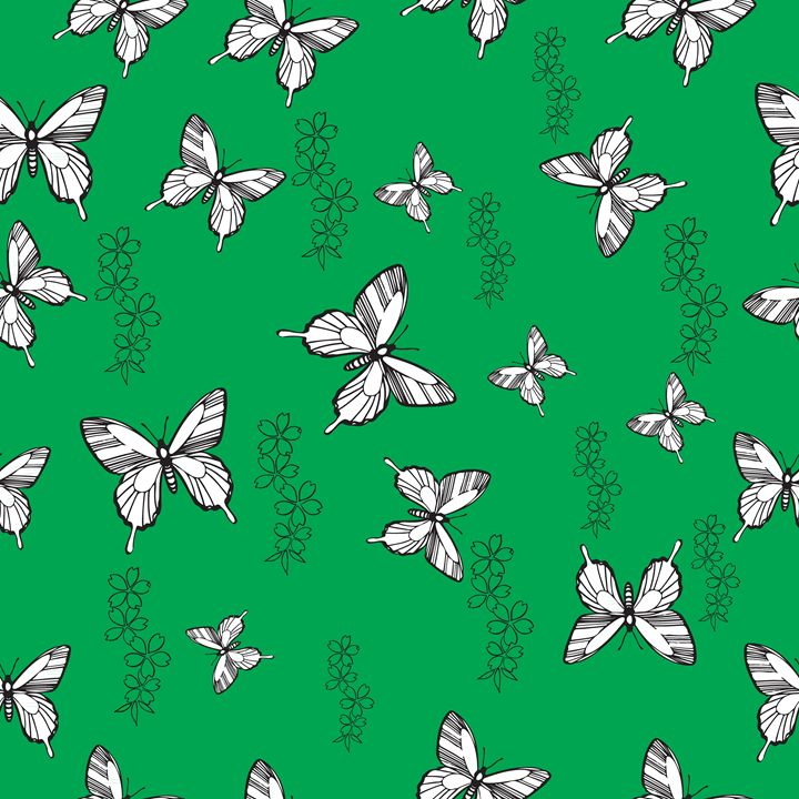 Pattern with butterflies and flowers - rokkis