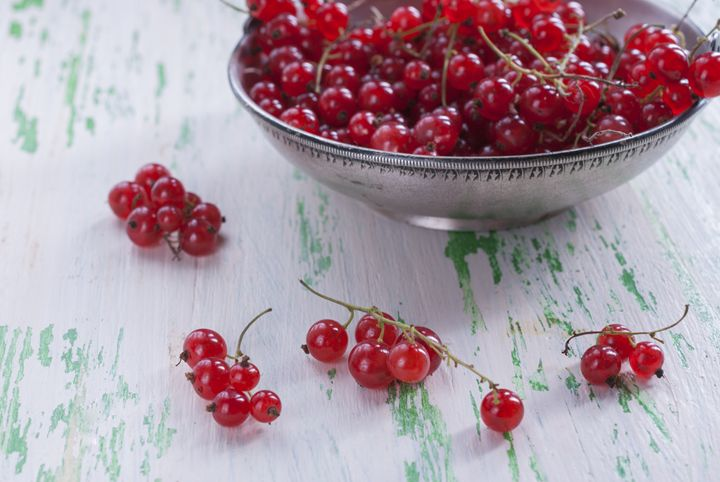 Ripe red currants in a metal plate - rokkis