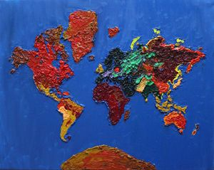 Oil painting World Map