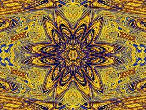 Yellow Blue Daisy 1