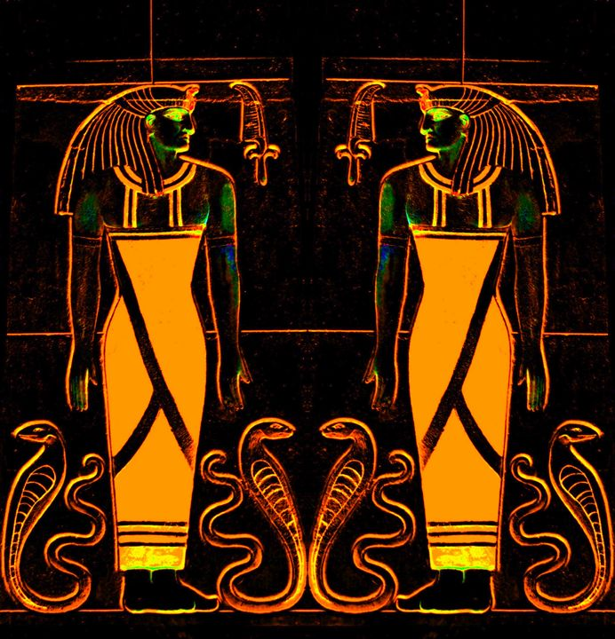 Egyptian Priests and Cobras Yellow 1 - Sherrie D. Larch