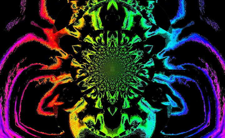 Lotus in Black and Rainbow Satin - Sherrie D. Larch